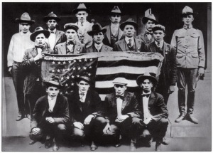 Choctaws in training in World War I for coded radio and telephone transmissions.
