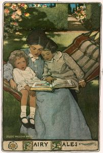 A mother reads to her children, depicted by Jessie Willcox Smith in a cover illustration of a volume of fairy tales written in the mid to late 19th century. Source: Wikipedia